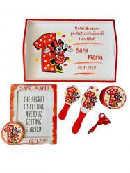 Set pentru tăierea moțului pictat Minnie Mouse roșu