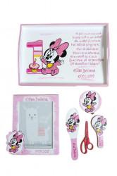 Set pentru tăierea moțului pictat Baby Minnie roz , cu ramă foto