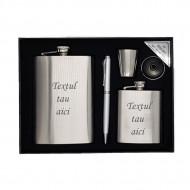 Set 2 sticle metal otel inoxidabil gravate personalizate cu textul tau, pahar si pix