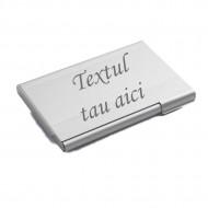Suport carti de vizita aluminiu, gravat, personalizat cu nume sau sigla, 95 x 65 x 7 mm