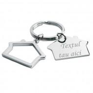 Breloc metalic gravat personalizat cu textul tau, 2 case, 6x3 cm, argintiu
