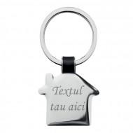 Breloc metalic gravat personalizat cu textul tau, casa, 6x3 cm, argintiu