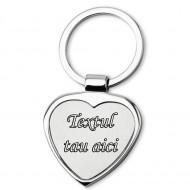 Breloc personalizat metalic in forma de inima amor gravat cu textul tau