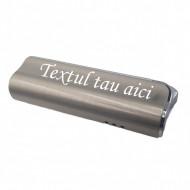 Bricheta metal antivant gravata cu textul tau, argintie, 75 mm