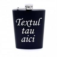Plosca otel inoxidabil 8oz 240 ml pentru bauturi fine, negru, personalizata cu textul tau