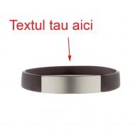 Bratara neagra silicon gravata personalizata cu textul tau