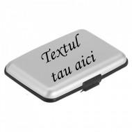 Suport carduri si carti de vizita aluminiu, gravat, personalizat cu nume sau sigla
