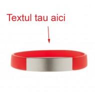 Bratara rosie silicon gravata personalizata cu textul tau