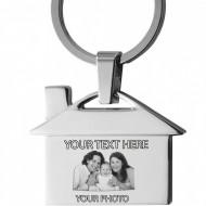 Breloc personalizat forma casa gravat cu poza si textul tau