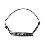 Bratara neagra cu snur ajustabil zodia capricorn