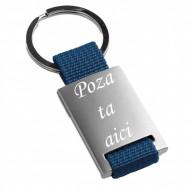 Breloc metalic , albastru, inox, gravat, personalizat cu poza si text
