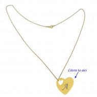 Lant argint 925 placat cu aur de 18k 50 cm si charm inima argint 925 placat cu aur de 24k, gravat litera ta
