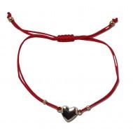 Bratara snur rosu si charm pandativ tip inima IN2