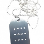 Lantisor personalizat metalic cu placuta, pandantiv gravat textul tau