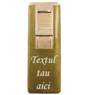 Bricheta metalica gravata personalizata cu textul tau, cu gaz, antivant, reincarcabila, aurie, cutie