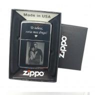 Bricheta Zippo personalizata cu poza si textul tau