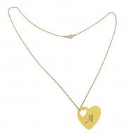 Lant argint 925 placat cu aur de 18k 50 cm si charm inima argint 925 placat cu aur de 24k, gravat litera A