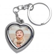 Breloc personalizat din metal forma inima cu poza color