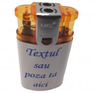 Bricheta flacara dubla personalizata cu poza color si text fata spate, cutie cadou