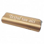 Bricheta metal antivant gravata cu textul tau, aurie, 75 mm