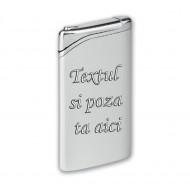 Bricheta personalizata argintie antivant gravata cu poza si textul tau