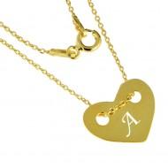 Lantisor personalizat argint 925 suflat aur cu inima gravata intiala ta