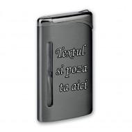 Bricheta personalizata neagra antivant gravata cu poza si textul tau