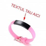 Bratara roz silicon ajustabila gravata personalizata cu textul tau