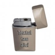 Bricheta personalizata argintie antivant gravata cu textul tau model premium
