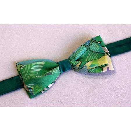 Papion combinație mătase verde imprimat cu verde uni.