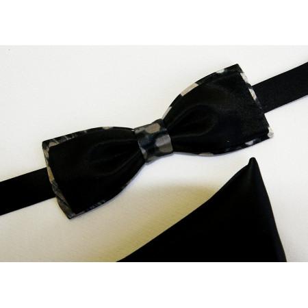Papion combinație mătase neagră uni cu mătase gri închis imprimată, lățime 4 cm, batistă mătase naturală neagră.