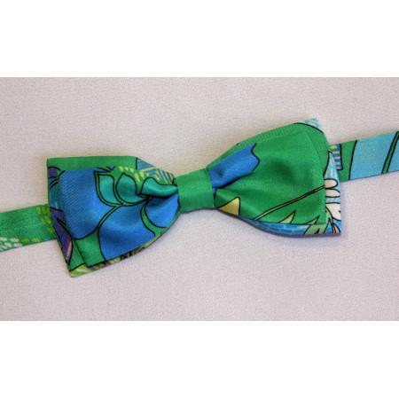 Papion mătase verde imprimat.