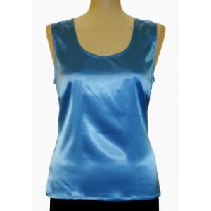 Top mătase naturală albastră.