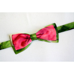 Papion mătase verde deschis combinat cu roșu.