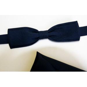Papion țesătură rips bleu-marin, lățime 3,5 cm, batistă bleu-marin.