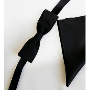 Papion mătase naturală neagră, lățime 4 cm cu batistă mătase naturală neagră.