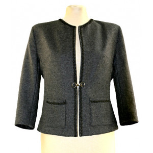 Jachetă stofă gri.