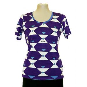 Top tricot, imprimeu geometric, cu mânecă scurtă.