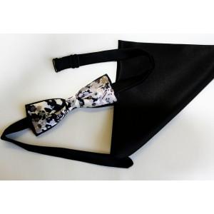 Papion combinație mătase neagră cu mătase gri imprimată, lățime 4 cm, batistă mătase neagră.