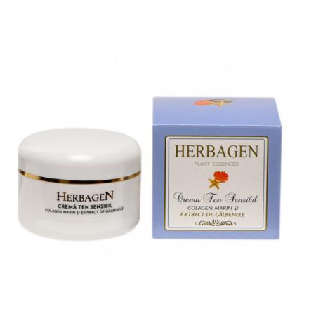 Crema HERBAGEN pentru ten sensibil cu colagen marin si extract de galbenele