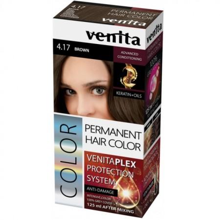 Vopsea de par permanenta Venita PLEX nr 4.17 brown