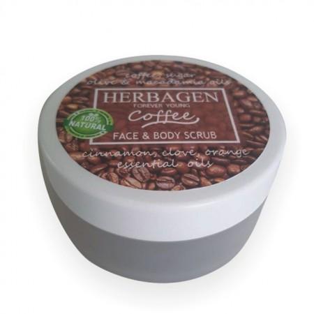 Scrub pentru fata si corp cu cafea Herbagen 100 g
