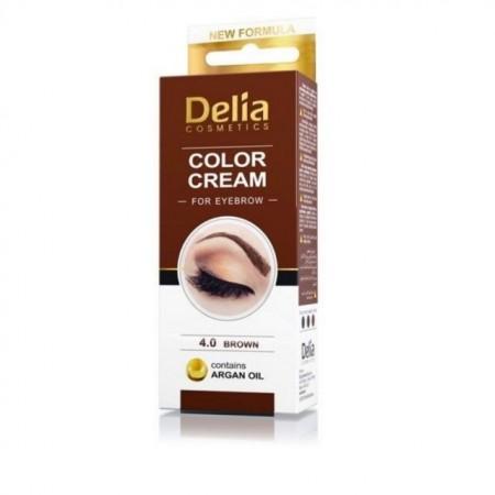 Vopsea de Sprancene Delia cu Ulei de Argan, culoare maro