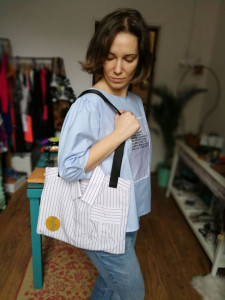 Bag made from recycled male shirt