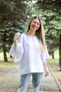 Bluza Cusută cu voie bună (alb)