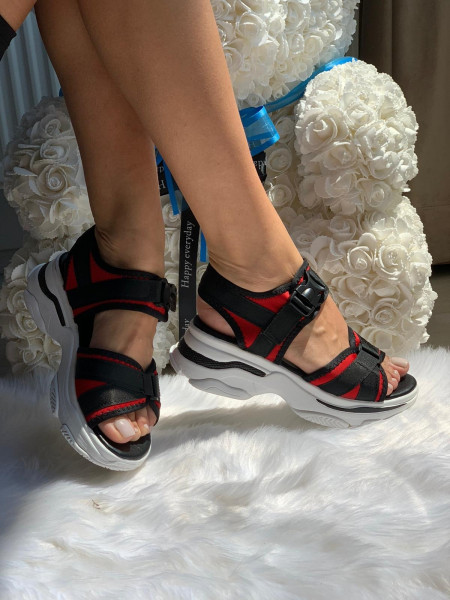 Sandale cod: LT168 Black/Red
