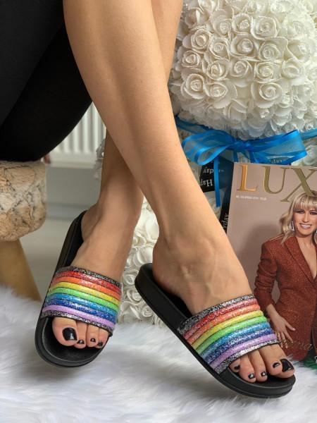 Papuci cod: Eda Rainbow Black