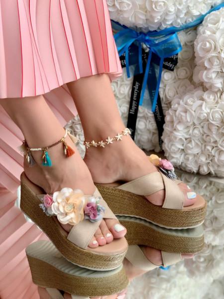 Papuci Dama cod: PH8057-1 Beige