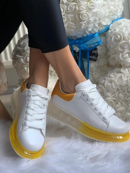 Pantofi Sport Cod:1801 White/Yellow