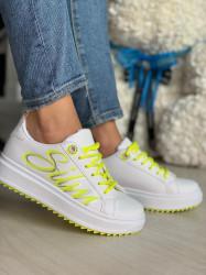 Pantofi sport cod : BO-259 White/Yellow
